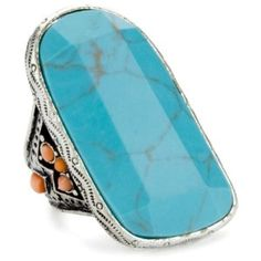 Lucky Brand Saddle Up Rings Silver Tone Turquoise Large Stone Ring.
