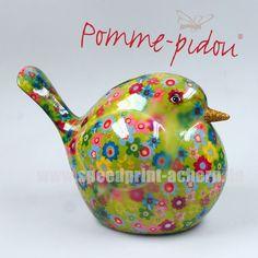 Pomme Pidou Vogel hellgrün Blumen