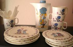 1984 25 Piece Plastic Holly Hobbie Tea Set by ThrillOfTheHunt, $15.00