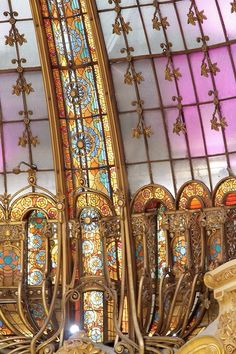 DETAIL; Stained glass ceilings at  Galeries Lafayette department store in Paris.
