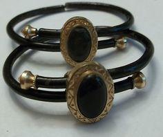 Victorian Mourning Bracelet Pair 10k Gold Black Onyx  Enamel Circa 1879