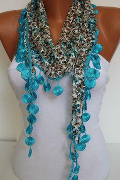 Woman Shawl Scarf  Headband with circle Lace Edge  by DIDUCI, $14.50