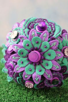 Purple and Aqua Toss Bouquet/I could totally make this for you out of felt and bits I find like buttons