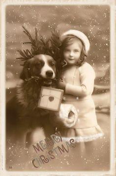 Brocante Brie, bewerkte vintage kerst foto