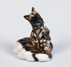 "Windstone ""African Wild Dog 3"" PYO Kitsune Figurine Mythical Fox Statue 
