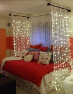 Very cute, tumblr idea with the lights and curtains. Super cute for any room :)