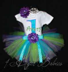 3 Piece Peacock Under the Sea Birthday Party Girls Glitter Tutu Outfit in Lime Green, Purple, and Turquoise Pick your size and Number. $49.50, via Etsy.
