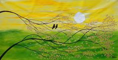 Love Birds Painting Canvas Wall Art Abstract от TexturePainting