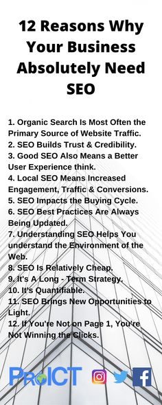 Check out the infographic and know 12 reasons why your business needs SEO for online image. For more info one can get in touch with seo specialists at ProICT LLC or connect at +1-718-285-9928.For our seo solutions visit at