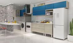 Cozinha Modulada com Lavanderia Modulada Integrada 9 Módulos Nacre/Azul - Caaza