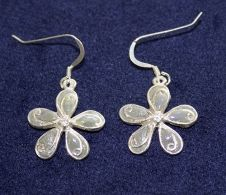 Sterling Silver flower earrings - with jewelry stones made from YOUR BRIDAL BOUQUET!  Visit TimelessMoments.com for order information and LOADS more jewelry styles