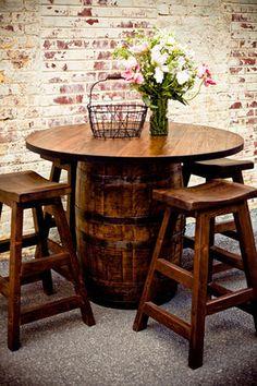 Image detail for -Vintage Whiskey Barrel Pub Table from Barrel Furniture Whiskey Barrels, Wine Barrel Table Diy, Wine Table, Table Baril, Wine Barrel Furniture, Table Furniture, Furniture Ideas, Furniture Vintage, Wine Racks