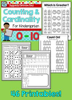 Counting and Cardinality Practice for Kindergarten, numbers 1-10, Common Core $