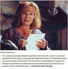 Weasley and Julie Walters are just wonderful! Molly was always one of my favourites! Harry Potter Puns, Harry Potter Marauders, Harry Potter Cast, Harry Potter Universal, Harry Potter World, Marauders Era, Must Be A Weasley, Julie Walters, No Muggles