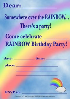 Rainbow Party Invitations Templates Free Download Printable