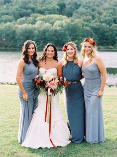 Colorful fall camp wedding and multicolored bridesmaid dresses via @100layercake