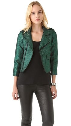 love how this moto jacket is updated in a dressy fabric and cool jewel tone.