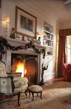 love the built in bookcase next to the fireplace