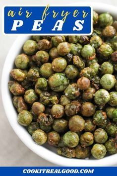 Crunchy Roasted Peas are a healthy and delicious snack that can be made in the oven or the air fryer. These green peas are cooked to crispy perfection, and are vegan and gluten-free. Lunch Snacks, Yummy Healthy Snacks, Healthy Cooking, Roasted Peas, Pea Recipes, Snack Recipes, Budget Recipes, Air Frier Recipes, Deserts