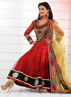 Red Sonal Chauhan Long Length Anarkali Suit