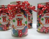 Sweetly Wrapped Gumballs Mason Jar w/ Candy / 10 Pint Size Party Favors
