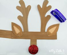 Cute printable reindeer antlers to cut out and paint from My little 3 and Me.