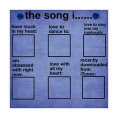 Song Survey by: Me {PLEASE USE} ❤ liked on Polyvore featuring surveys, templates, backgrounds, other, random, quotes, text, fillers, saying and phrase