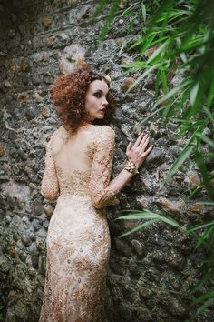 Joanne Fleming Design: 'Orlagh'....a glamorous seductive siren of a dress in gold guipure lace