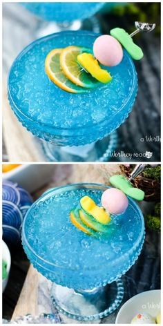 It's Easter time! Our deliciously blue Easter Italian Ice Cocktail is what you will want on your Eas Party Drinks, Cocktail Drinks, Non Alcoholic Drinks, Beverages, Cocktail Recipes, Blue Drinks, Summer Drinks, Mixed Drinks, Easter Cocktails