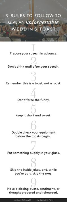 tips + tricks | advice on giving an unforgettable toast | via: wedding party app