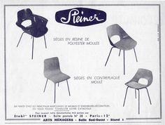 PLV Steiner pour Pierre Guariche Pierre Guariche, Catalog, Product Design, Image, Chairs, Furniture, Home Economics, Pos, Armchairs