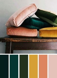 Mustard peach and emerald color palette and mustard color palette. LITERALLY the color palette I'm going for in the living room, dining room and kitchen! Colour Pallete, Colour Schemes, Color Combos, Color Palette Green, Color Yellow, Vintage Color Schemes, Bedroom Color Schemes, Orange Pink, Vintage Color Palettes