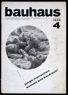 Cover of Bauhaus journal No. The weavers - photograph by Lotte Beese, with the slogan: 'young people come to the bauhaus ! Schmidt, Cover Design, Design Art, Bauhaus Design, Victoria And Albert Museum, Branding, Graphic Design Typography, Magazine Design, Graphic Design Inspiration