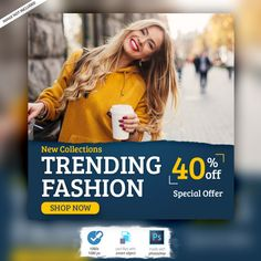 Fashion instagram banner ad post template Premium Psd Free Banner, Banner Template, Money Quotes, Quotes Quotes, Instagram Banner, New Beginning Quotes, Friendship Day Quotes, Web Banner Design, Thinking Quotes
