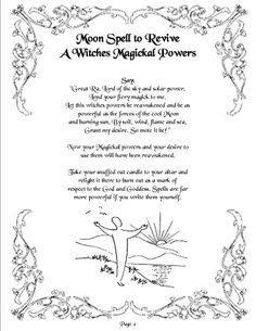 *~ Moon Spell to Revive A Witches Magickal Powers ~*