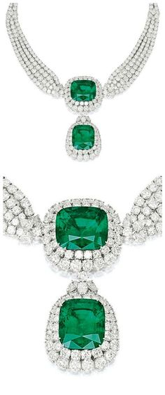 A rare and remarkable emerald and diamond necklace, by Cartier. This piece features two large emeralds (44.42 and 42.50 carats) surrounded by 75 carats of diamonds.Via Diamonds in the Library.
