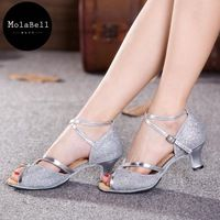 Silver  Sequins   Color Beauty  Leakage Toe Adult Mid Heel Latin Modern Dance Shoes Women's Ballroom Dancing Soft Comfortable