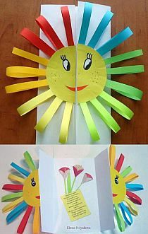 I would modify this idea to show a split seed on the front two halves that open to a flower or tree inside. Summer Crafts, Diy And Crafts, Crafts For Kids, Paper Crafts, Fun Activities For Kids, Preschool Activities, Projects For Kids, Art Projects, Art N Craft