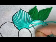 Hand Embroidery fantasy flower,easy embroidery for dress Basic Embroidery Stitches, Floral Embroidery Patterns, Embroidery Flowers Pattern, Creative Embroidery, Simple Embroidery, Silk Ribbon Embroidery, Flower Patterns, Embroidery Designs, Broderie Simple