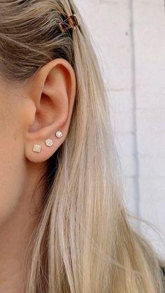 Ear Peircings, Ear Piercings Cartilage, Ear Jewelry, Gold Jewelry, Jewellery, Unique Ear Piercings, Simple Jewelry, Diamond Studs, Diamond Earrings
