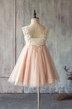 2015 Junior Bridesmaid dress ShortOff White and Blush por RenzRags