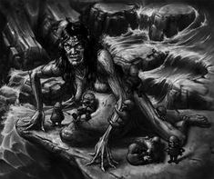 Louhi, Loviatar with children by TeroPorthan on DeviantArt Angry Child, Old Folks, Old Norse, Dark Fantasy, Dark Art, Mythology, Creatures, Gallery, Children