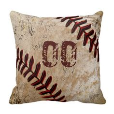 "Personalized Vintage Baseball Throw Pillows with YOUR JERSEY NUMBER typed into Text Box or DELETE IT. For Multiple Names, PERSONALIZE ONE Baseball Pillow at a Time, ""Add to Cart"" and Go Back</b> and customize the next Baseball Throw Pillow.  <br> <br> Turn it over and you have a plain antique background for a variation in your vintage baseball decor. This will add a nice touch to your Vintage Baseball Room.  Man Cave, Baseball Themed Bedroom Decor, Family Room.  Great Personalized Baseball…"