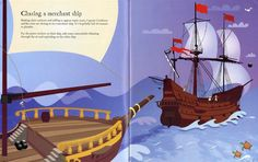 """Pages from """"Pirate sticker book"""" at www.usborne.com/pirates #books #children #pirates #Usborne #stickers"""