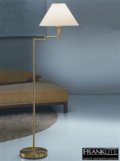 franklite swing arm floor lamp brass finish with cream shade sl642 none