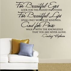 Wall Decals Quotes | Audrey Hepburn for Beautiful Eyes Quote Wall Decal | eBay