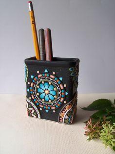 Mosaic Pencil Holder  Mandala inspired  Kaleidoscope