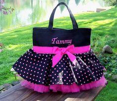 Embroidered Dance Bag - Black Bag with Pink Polka Dot Skirt and Pink Tulle Tutu…