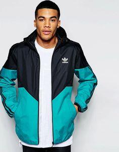 Mega cool adidas Originals Hooded Windbreaker - Green adidas Originals Jakkesæt til Herrer til enhver anledning