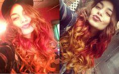 Depois das californianas, Vanessa resolve radicalizar e pintar os cabelos com três cores diferentes!